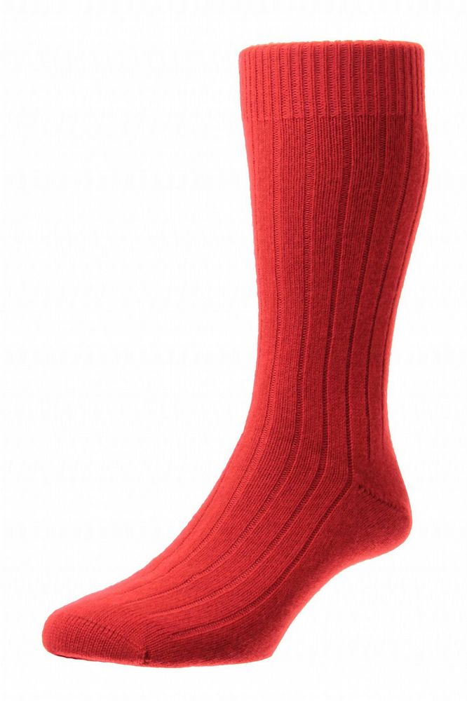 Mens Cashmere Socks - Red